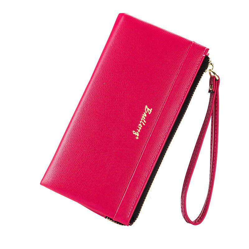 Baellerry Multi-Function Long Wallet Zipper Embossed Purse Hand Bag for Women - ROSE RED