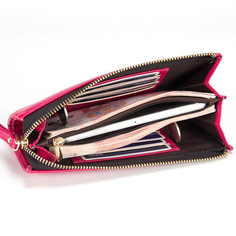 Multi-Function Long Wallet Zipper Embossed Purse Hand Bag for Women - ROSE RED