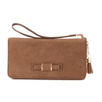 Creative Long Butterfly Purse Zipper  Large Capacity Bowknot Wallet Hand Bag - COFFEE COFFEE