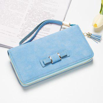 Creative Long Butterfly Purse Zipper  Large Capacity Bowknot Wallet Hand Bag - LIGHT BLUE