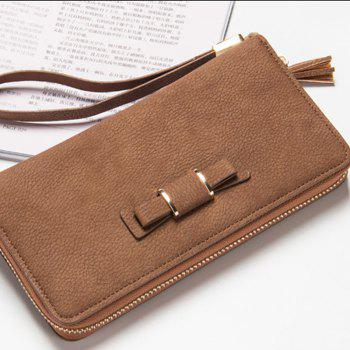 Baellerry Creative Long Butterfly Purse Zipper  Large Capacity Bowknot Wallet Hand Bag - COFFEE