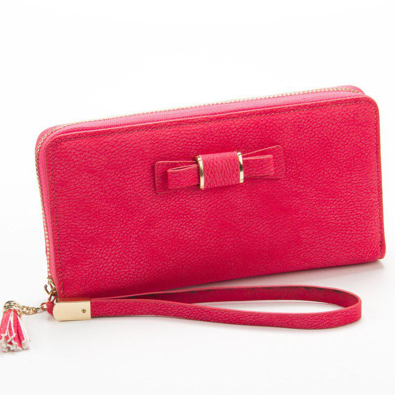 Creative Long Butterfly Purse Zipper  Large Capacity Bowknot Wallet Hand Bag - ROSE RED