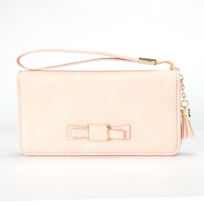 Creative Long Butterfly Purse Zipper  Large Capacity Bowknot Wallet Hand Bag - LIGHT PINK