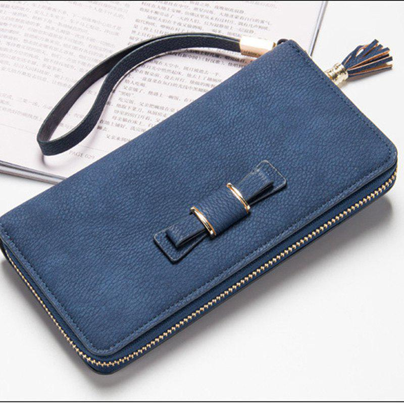 Creative Long Butterfly Purse Zipper  Large Capacity Bowknot Wallet Hand Bag - BLUE