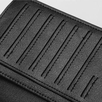 Baellerry Fashion Long Bifold Casual Ultra Thin PU Leather Wallet for Men - BLACK