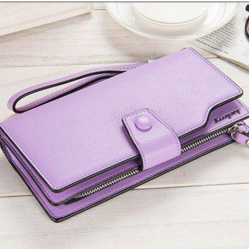 Long Purse Large Capacity Zipper Wallet Hand Bag Credit Card Holder -  PURPLE