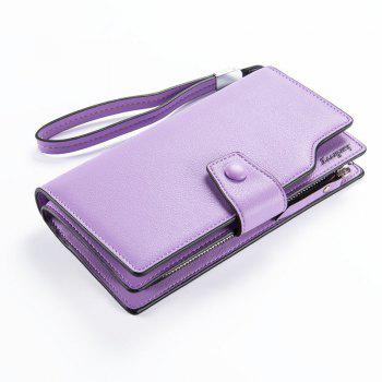 Long Purse Large Capacity Zipper Wallet Hand Bag Credit Card Holder - PURPLE PURPLE