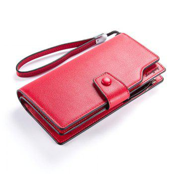 Long Purse Large Capacity Zipper Wallet Hand Bag Credit Card Holder - RED RED