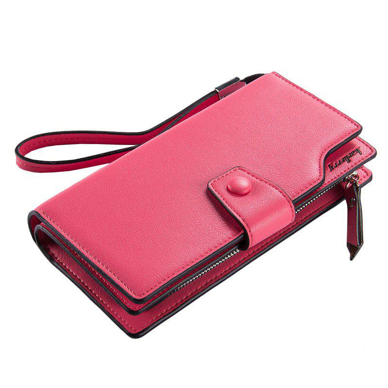 Baellerry Long Purse Large Capacity Zipper Wallet Hand Bag Credit Card Holder - ROSE RED