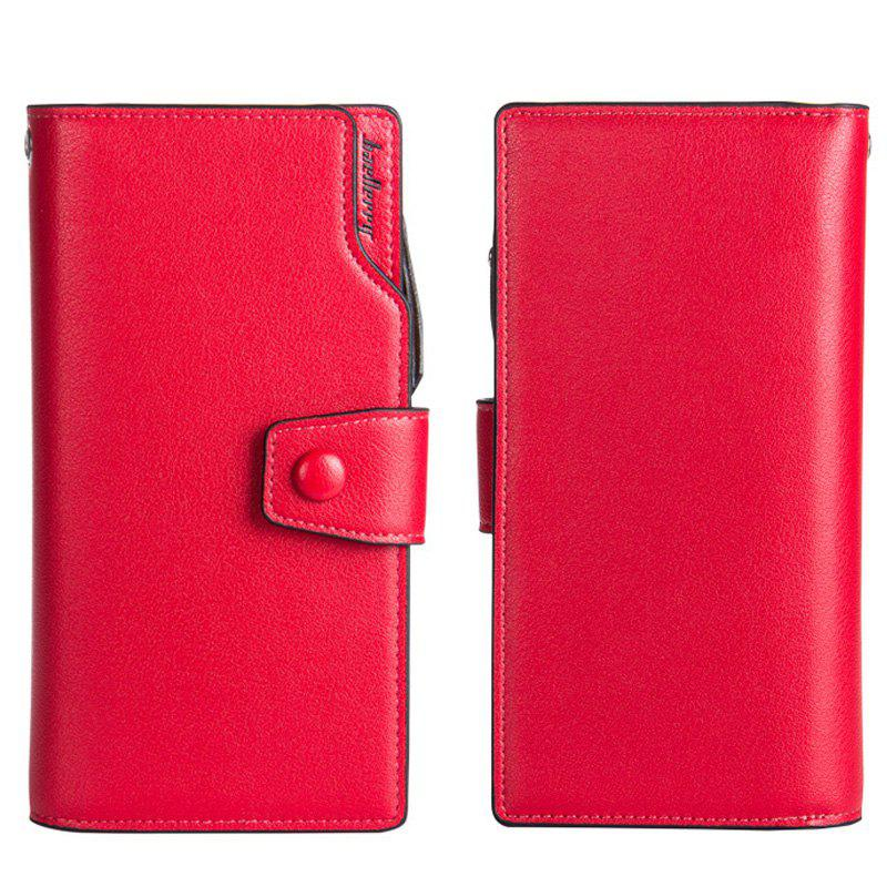 Long Purse Large Capacity Zipper Wallet Hand Bag Credit Card Holder - RED