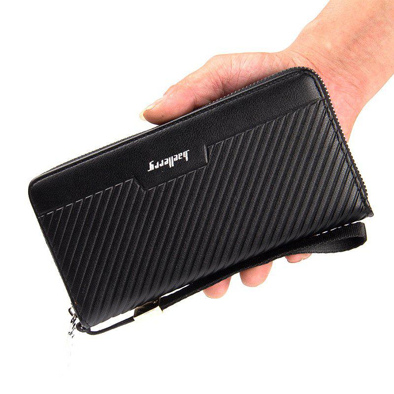 Baellerry Multi-function Long Stripe Wallet Zipper Hand Bag Credit Card Holder for Men - BLACK