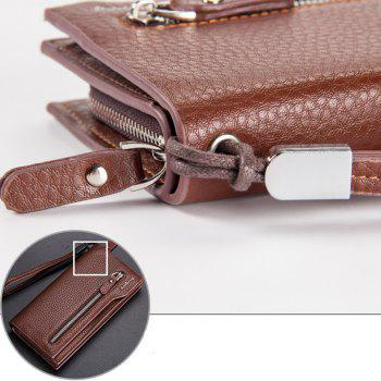 Fashion Multi-Function Men's Long Bussiness Wallet Large Capacity Hand Bag Credit Card Holder - BROWN