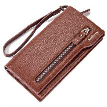 Fashion Multi-Function Men's Long Bussiness Wallet Large Capacity Hand Bag Credit Card Holder - BROWN BROWN