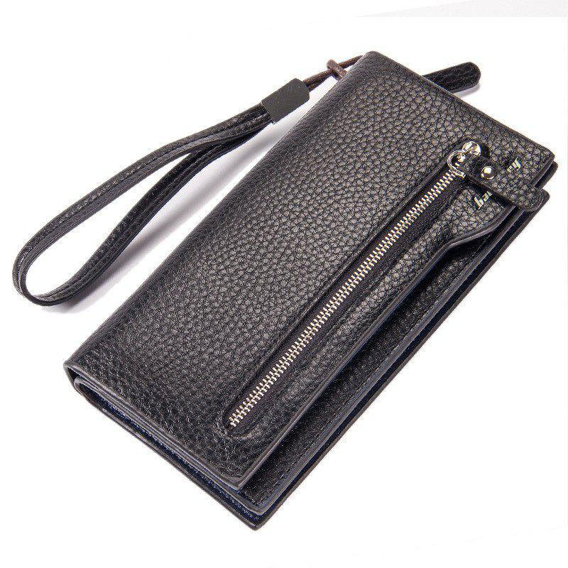 Fashion Multi-Function Men's Long Bussiness Wallet Large Capacity Hand Bag Credit Card Holder - BLACK