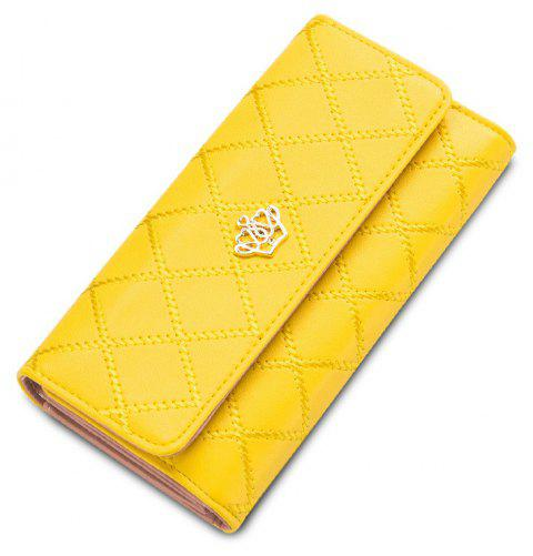 Baellerry Long Trifold Plaid Crown Purse Embroidered Hand Bag Credit Card Holder - YELLOW