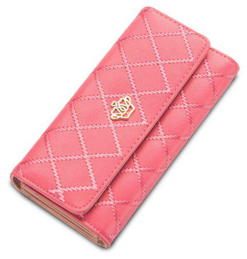 Baellerry Long Trifold Plaid Crown Purse Embroidered Hand Bag Credit Card Holder - WATERMELON RED