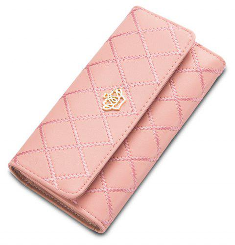 Baellerry Long Trifold Plaid Crown Purse Embroidered Hand Bag Credit Card Holder - LIGHT PINK