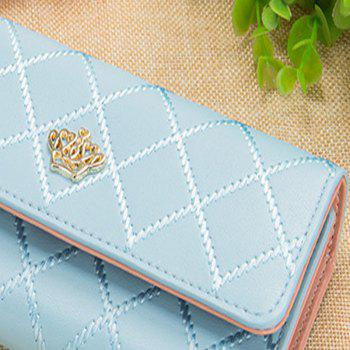 Long Trifold Plaid Crown Purse Embroidered Hand Bag Credit Card Holder -  LIGHT BLUE