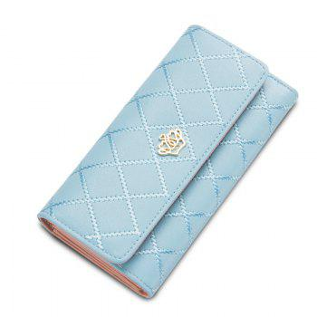 Long Trifold Plaid Crown Purse Embroidered Hand Bag Credit Card Holder - LIGHT BLUE LIGHT BLUE