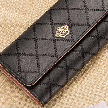 Long Trifold Plaid Crown Purse Embroidered Hand Bag Credit Card Holder - BLACK