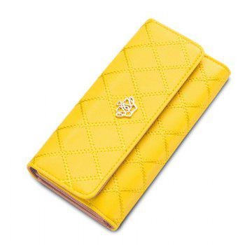 Long Trifold Plaid Crown Purse Embroidered Hand Bag Credit Card Holder - YELLOW YELLOW