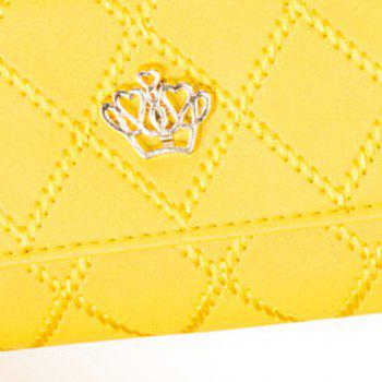Long Trifold Plaid Crown Purse Embroidered Hand Bag Credit Card Holder -  YELLOW