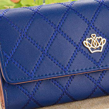 Long Trifold Plaid Crown Purse Embroidered Hand Bag Credit Card Holder - BLUE
