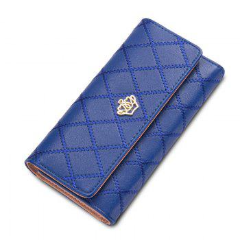 Long Trifold Plaid Crown Purse Embroidered Hand Bag Credit Card Holder - BLUE BLUE