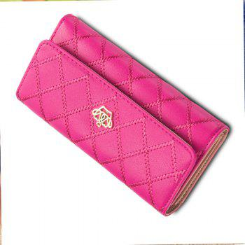 Long Trifold Plaid Crown Purse Embroidered Hand Bag Credit Card Holder -  ROSE RED