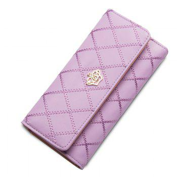 Long Trifold Plaid Crown Purse Embroidered Hand Bag Credit Card Holder - PURPLE PURPLE