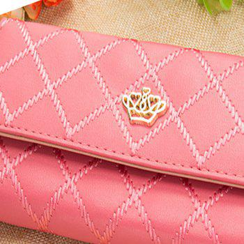 Long Trifold Plaid Crown Purse Embroidered Hand Bag Credit Card Holder -  WATERMELON RED