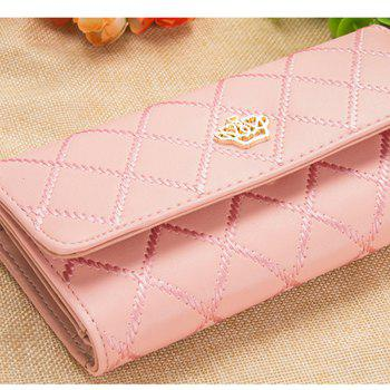 Long Trifold Plaid Crown Purse Embroidered Hand Bag Credit Card Holder - LIGHT PINK
