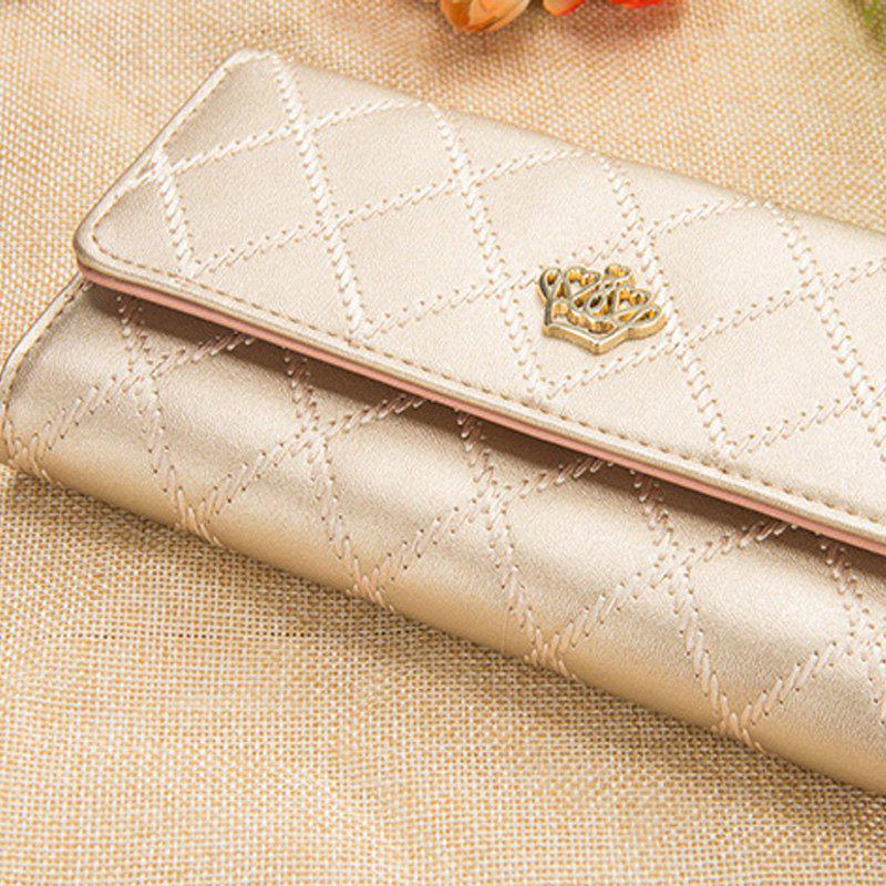 Long Trifold Plaid Crown Purse Embroidered Hand Bag Credit Card Holder - CHAMPAGNE GOLD
