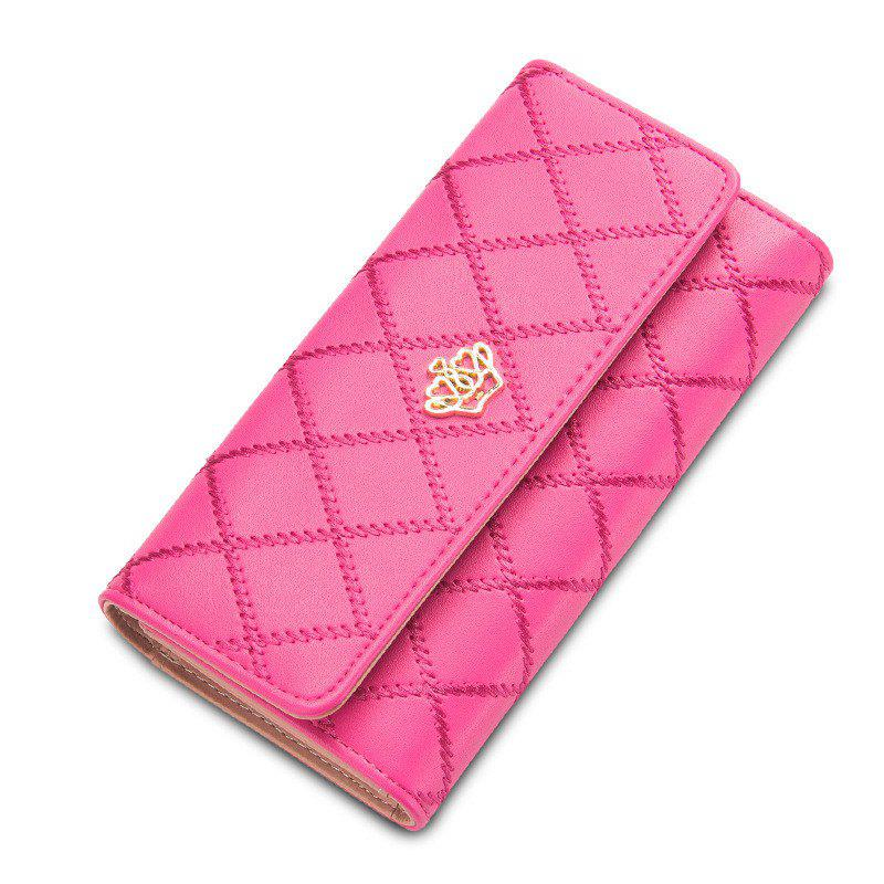 Long Trifold Plaid Crown Purse Embroidered Hand Bag Credit Card Holder - PINK