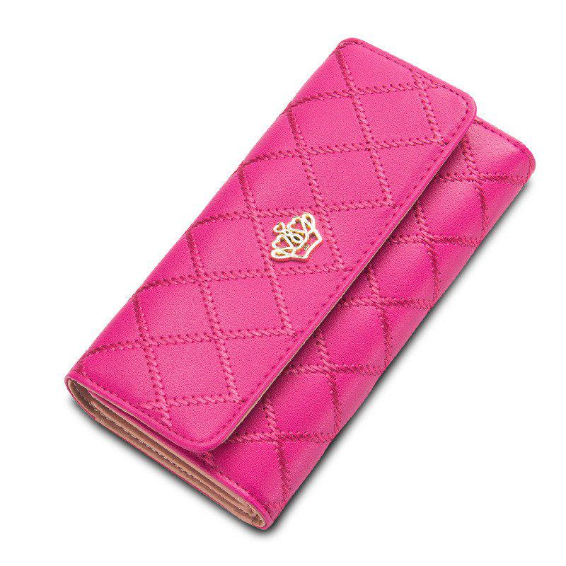 Baellerry Long Trifold Plaid Crown Purse Embroidered Hand Bag Credit Card Holder - ROSE RED