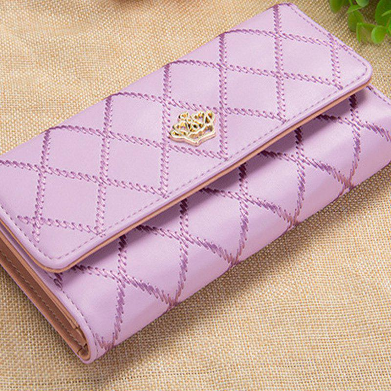 Long Trifold Plaid Crown Purse Embroidered Hand Bag Credit Card Holder - PURPLE