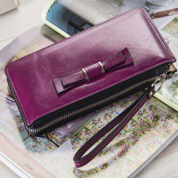 Women's Long Large Capacity Bowknot Purse Hand Bag Mobile Phone Package - PURPLE