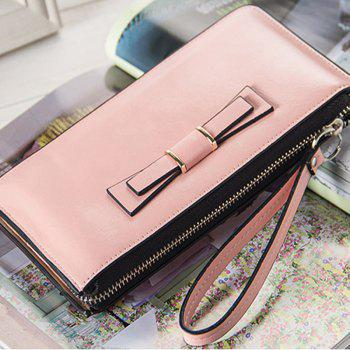 Women's Long Large Capacity Bowknot Purse Hand Bag Mobile Phone Package - PINK