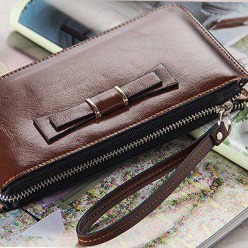 Women's Long Large Capacity Bowknot Purse Hand Bag Mobile Phone Package -  COFFEE