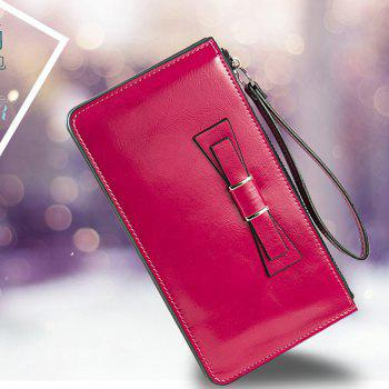 Women's Long Large Capacity Bowknot Purse Hand Bag Mobile Phone Package - ROSE RED