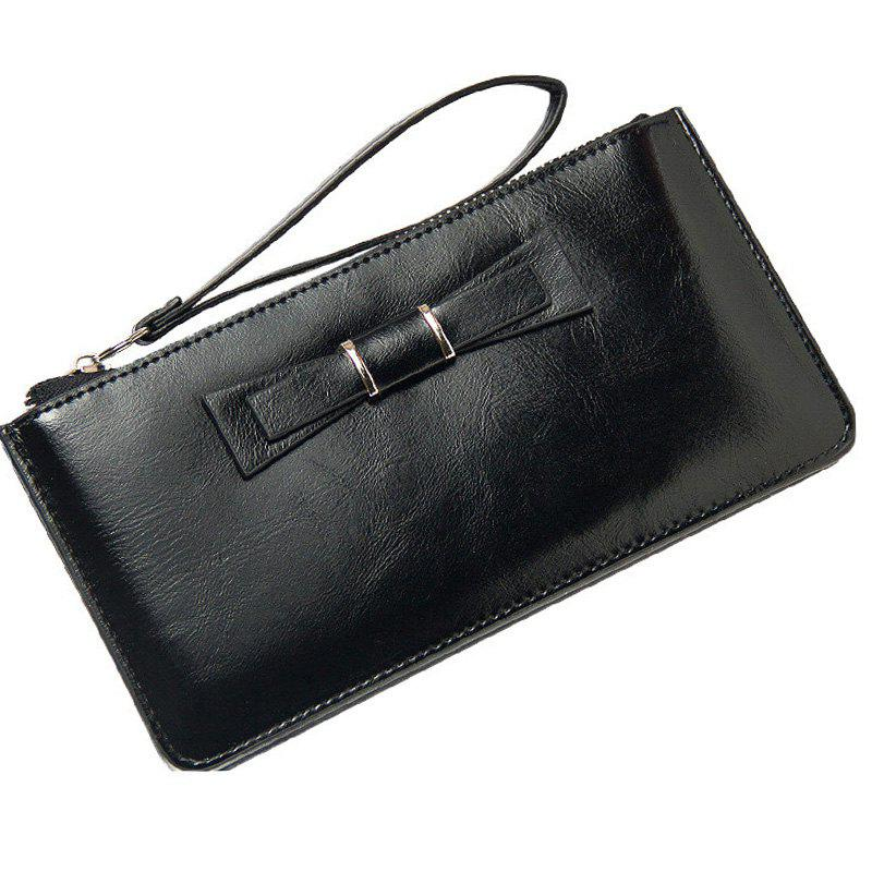 Women's Long Large Capacity Bowknot Purse Hand Bag Mobile Phone Package - BLACK