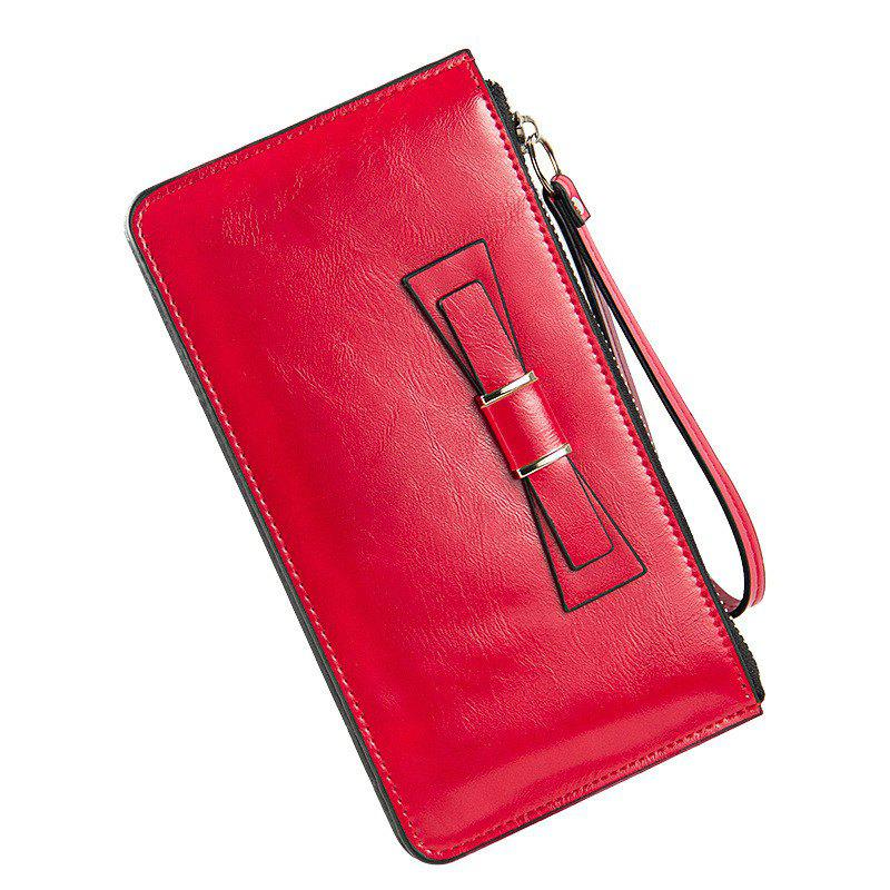 Women's Long Large Capacity Bowknot Purse Hand Bag Mobile Phone Package - RED