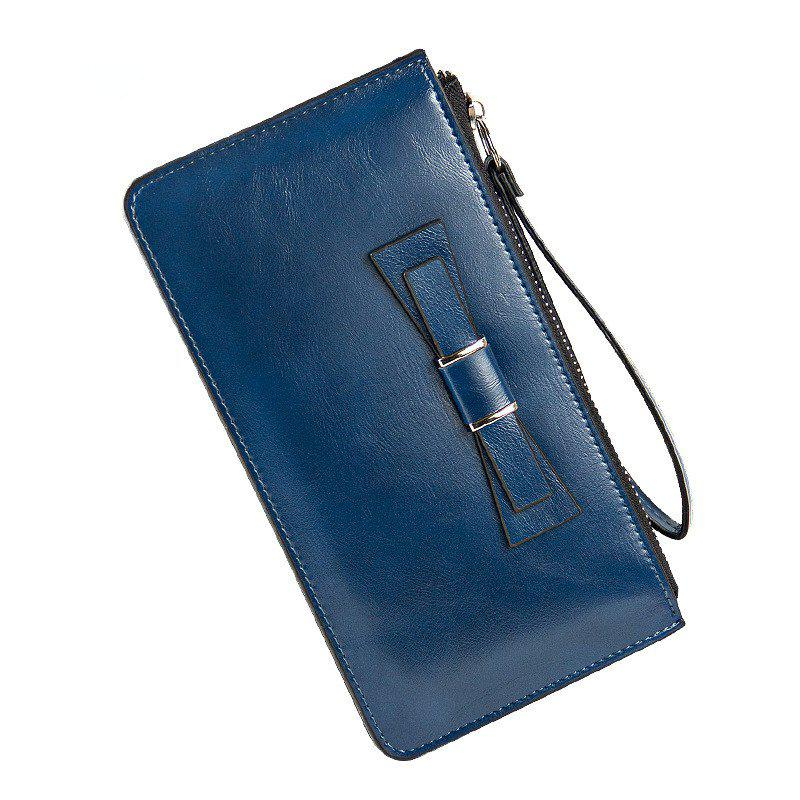 Women's Long Large Capacity Bowknot Purse Hand Bag Mobile Phone Package - BLUE