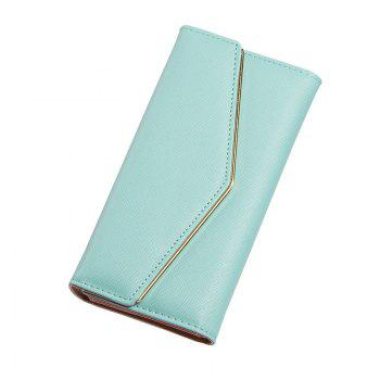 Women's Trifold Long Purse Casual Wallet Hand Bag Credit Card Holder - BLUE BLUE