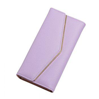 Women's Trifold Long Purse Casual Wallet Hand Bag Credit Card Holder - PURPLE PURPLE