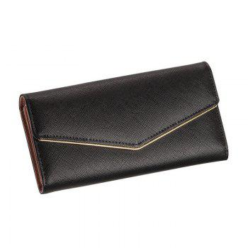 Women's Trifold Long Purse Casual Wallet Hand Bag Credit Card Holder - BLACK