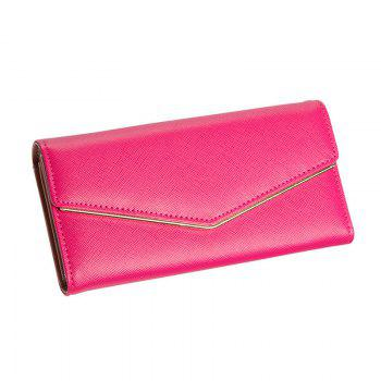 Women's Trifold Long Purse Casual Wallet Hand Bag Credit Card Holder - ROSE RED