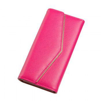 Women's Trifold Long Purse Casual Wallet Hand Bag Credit Card Holder - ROSE RED ROSE RED