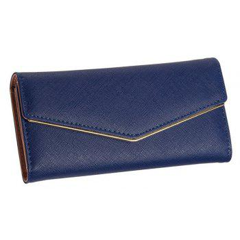 Baellerry Women's Trifold Long Purse Casual Wallet Hand Bag Credit Card Holder - DARK BLUE