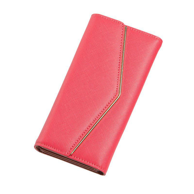 Women's Trifold Long Purse Casual Wallet Hand Bag Credit Card Holder - WATERMELON RED